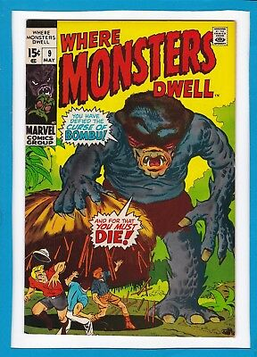 """Where Monsters Dwell #9_May 1971_Very Fine+_""""curse Of Bombu""""_Bronze Age Horror!"""