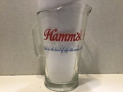 "Hamm's Beer ""Born In the Land Of Sky Blue Waters"" Glass Pitcher"