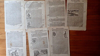 Printed 1575 Seven Fascinating Folio Sized Leaves Cosmographie Universalle Rare