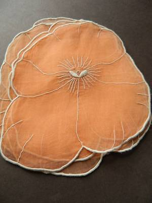 Eight vintage burnt orange hand embroidered lawn table mats in shape of Pansies