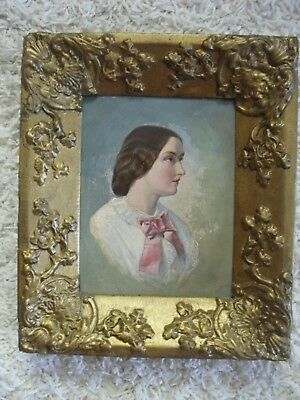 Old Oil Painting Portrait Of A Victorian Lady