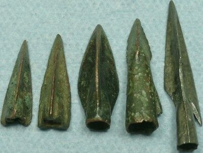 Lot Of 5 Ancient Bronze Arrowheads