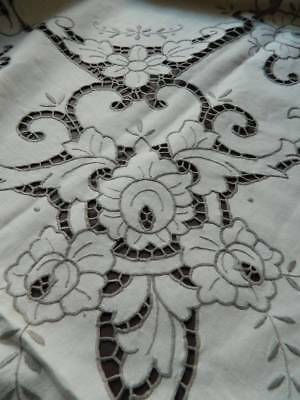 "Vintage large UNUSED banquet tablecloth with hand embroidery 100"" x 64"""