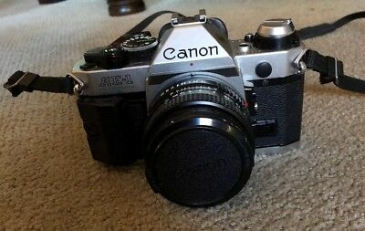 Canon AE-1 35mm SLR Film Camera with 3 Lenses And Flash