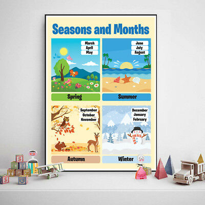 Seasons and Months Educational Poster Kids Classroom ideal for School Nursery
