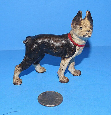 "Antique Cast Iron 3"" Boston Terrier Dog Bulldog Boxer Paper Weight Cute"