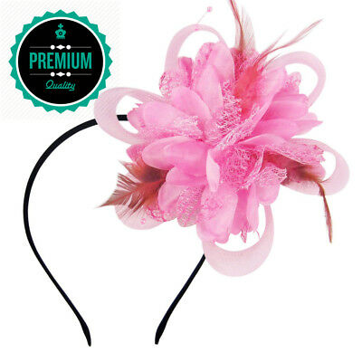 HowYouth Flower Feather Fascinator Headband with Hair Clip Headwear for...