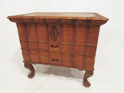 ANTIQUE CARVED WOOD BOX / CHEST/ SEWING BOX on LEGS