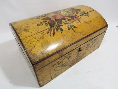 1800s ANTIQUE HAND PAINTED LADIES / JEWELRY BOX, FLORAL DESIGN ALL SIDES