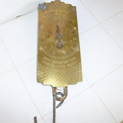 Antique Purina Cow Chow Scale Brass Face General Store, farm, Hardware Feed