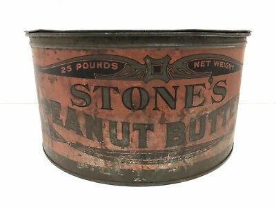 Vintage Stone's 25 Pound Peanut Butter Tin Can Stone Ordean Wells Duluth MN