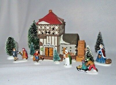 Blythe Pond Mill House, Dickens Village  Department 56 #65080, Lot Of Eleven
