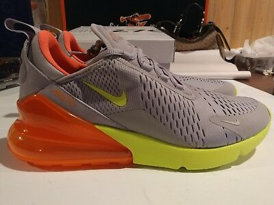 New Nike Air Max 270 Size 11 Atmosphere Grey Volt Orange Mens Shoe AH8050-012