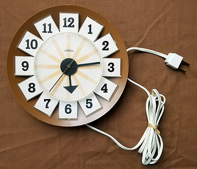 Vintage Sunbeam Electric Wall Clock w/ Box 1950s Works