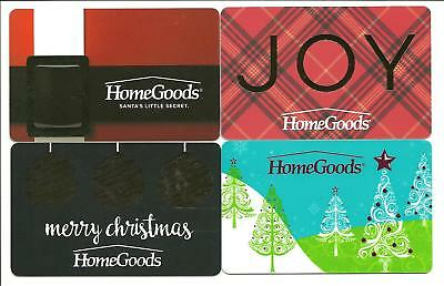 Lot of (4) Homegoods Holiday Gift Cards No $ Value Collectible Joy Christmas