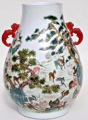 Huge Chinese Hu Vase - Amazing Decoration 100 Deer Pattern - Seal Mark On Base