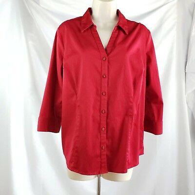 b8d389af 212 Collection Christmas Red 3/4 Sleeve Stretch Button Down Top XL