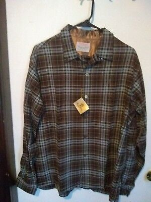 VTG Game And Lake by Vito Plaid Button Flannel Shirt Mens Large NEW from 60's !!