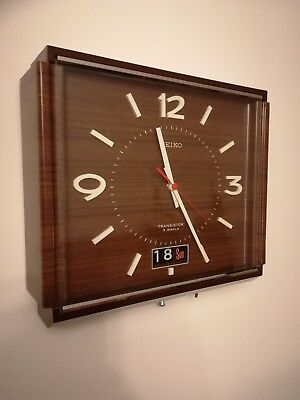 Rare Vintage  SEIKO Transistor wall Clock With 31 day Calendar fully working