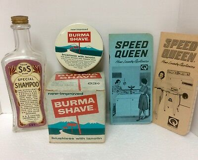 3 Items: Vintage Burma Shave Box& Lid, S&S Shampoo Bottle, 2 Speed Queen Pads