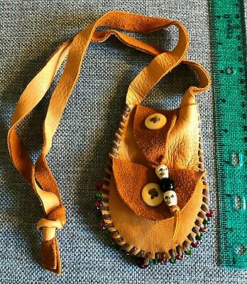 "4.5"" soft buckskin medicine bag, pouch, necklace. Leather mountain man possibles"