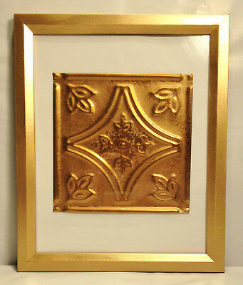 """Tin Ceiling Art Distressed Copper Vintage Look 6"""" X 6"""" Panel Framed 8""""X10"""" #639"""