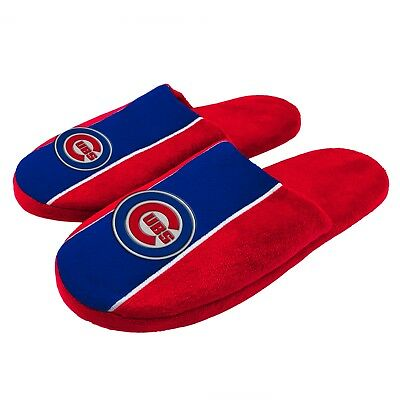 Pair of Chicago Cubs Big Logo Stripe Slide Slippers House shoes New STP18