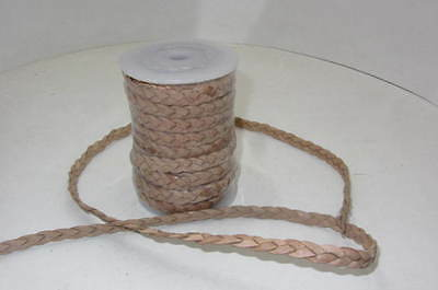 "Flat leather braided cord....5 yards of natural color   3/8"" wide (10mm) ..v581"