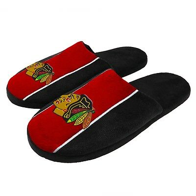 Pair of Chicago Blackhawks Big Logo Stripe Slide Slippers House shoes New STP18