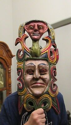 Antique RARE  FOLK ART. Large Mask Mixed Human FACE with face Above
