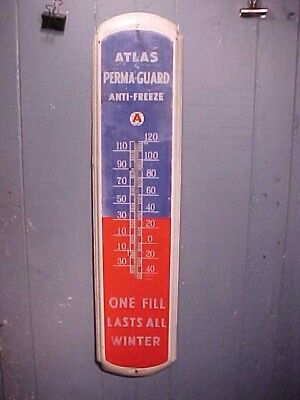 1950s ATLAS ANTI FREEZE 3' Metal Lithograph ADVERTISING Wall THERMOMETER