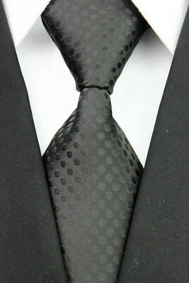 Solid Black Dots Men's Classic JACQUARD Woven Necktie Men Formal Tie