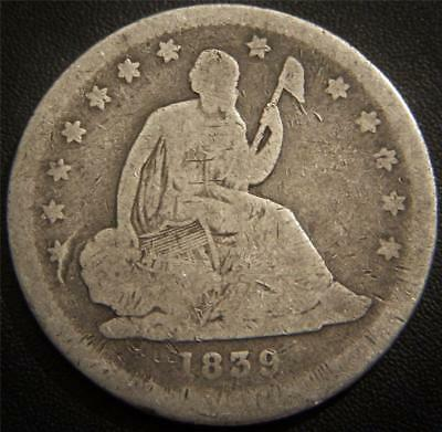 1839 Seated Liberty Quarter - Partial LIBERTY and Some Feather Details Show