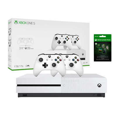 XBOX ONE S 1TB Console 4K HDR includes 2 Controllers 3 Month Game Pass Microsoft