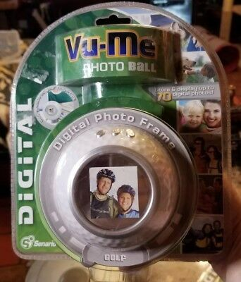 "Digital Photo Frame Golf Ball shape by: Vu-Me 1.5"" LCD White Brand New Sealed!"
