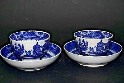 Pair Of Early Tea Bowls & Saucers - Buffalo Pattern - Very Rare - L@@k
