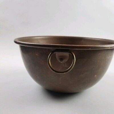 """Vintage Copper 10 1/2"""" Mixing Bowl with Brass Ring Handle"""