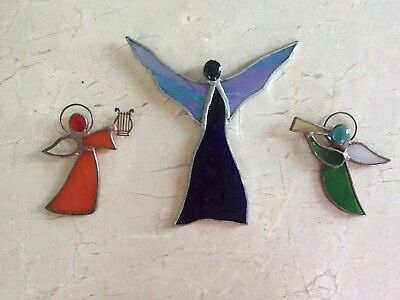 "3 Rustic Vintage Stained Glass Angels with Harp & Horn 3.25"" Tall & Large 5.5"""
