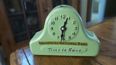 Vintage Advertising Bank INDUSTRIAL NATIONAL BANK Time to Save, Clock Shape
