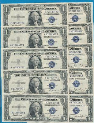 10-$1.00  1935-D + 1935-F Blue Seal Silver Certificates Choice New Dealers Lot