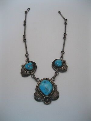 Lot 162 - Beautiful Angela Lee Navajo Silver & Turquoise Necklace