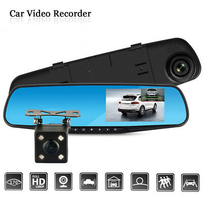 4.3' HD 1080P Car DVR Dual Lens Camera Vehicle Rearview Mirror Dash Cam Recorder