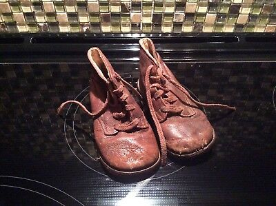 vintage antique baby high top brown leather shoes