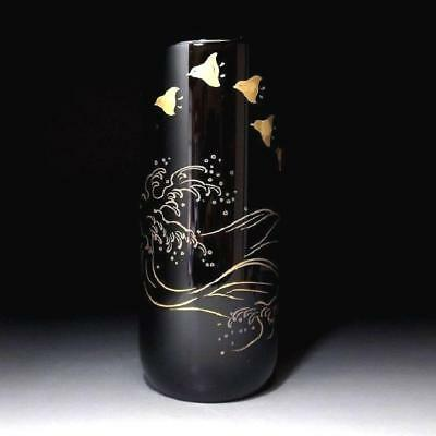 VQ1: Vintage Japanese wooden vase, WAJIMA lacquer ware, Gold MAKIE, Natural wood