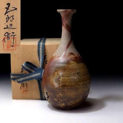 ZG9: Japanese Pottery Bud Vase, Bizen Ware with Signed wooden box, Tea ceremony