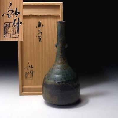 ZA7: Japanese Vase, Seto ware by Great Human Cultural Treasure Potter, Sho Kato