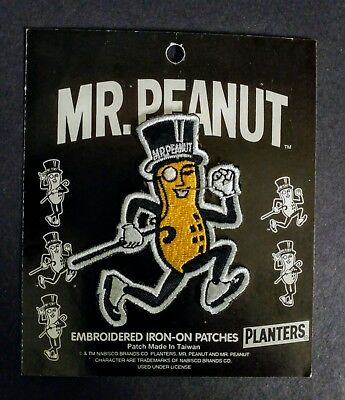 Mr. Peanut Running Vintage Embroidered Iron on Patch