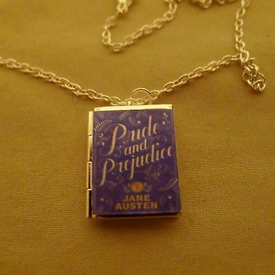 Pride and Prejudice by Jane Austen book LOCKET Silver necklace Classic romance