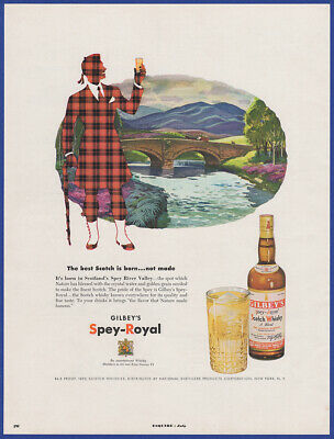 Vintage 1952 GILBEY'S Spey-Royal Scotch Whisky Liquor Alcohol Print Ad 50's