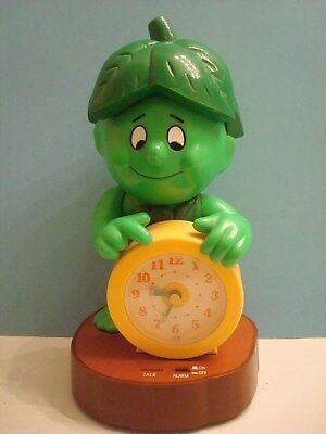 Vintage Pillsbury Jolly Green Giant Little Sprout Vintage Alarm Clock c.1985 10""